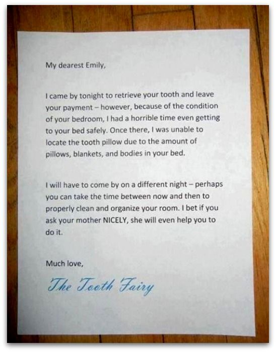 The 7 best notes to and from the tooth fairy for Small dirty room 7 letters