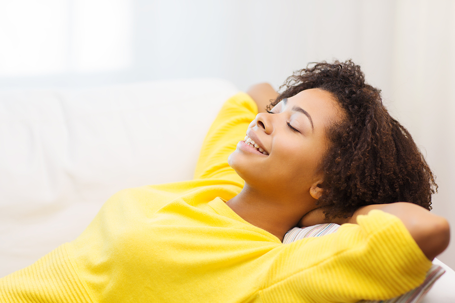 happy african young woman relaxing for a healthy life